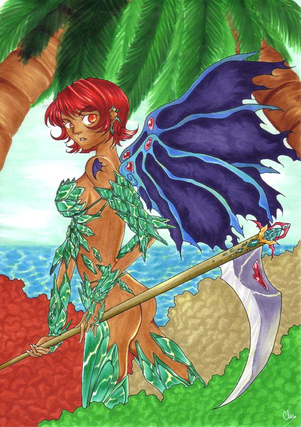 Amazone dans la jungle portant une armure d'émeraudes et une faux