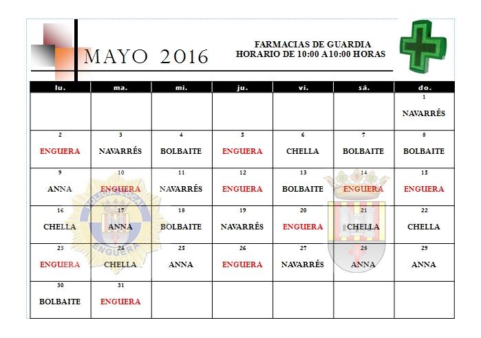 FARMACIAS DE GUARDIA MES DE MAYO 2016