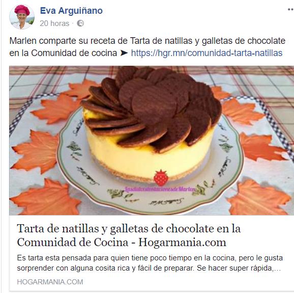 Eva Arguiñano publica en su página oficial mi receta: Tarta de Natillas y Galletas de Chocolate