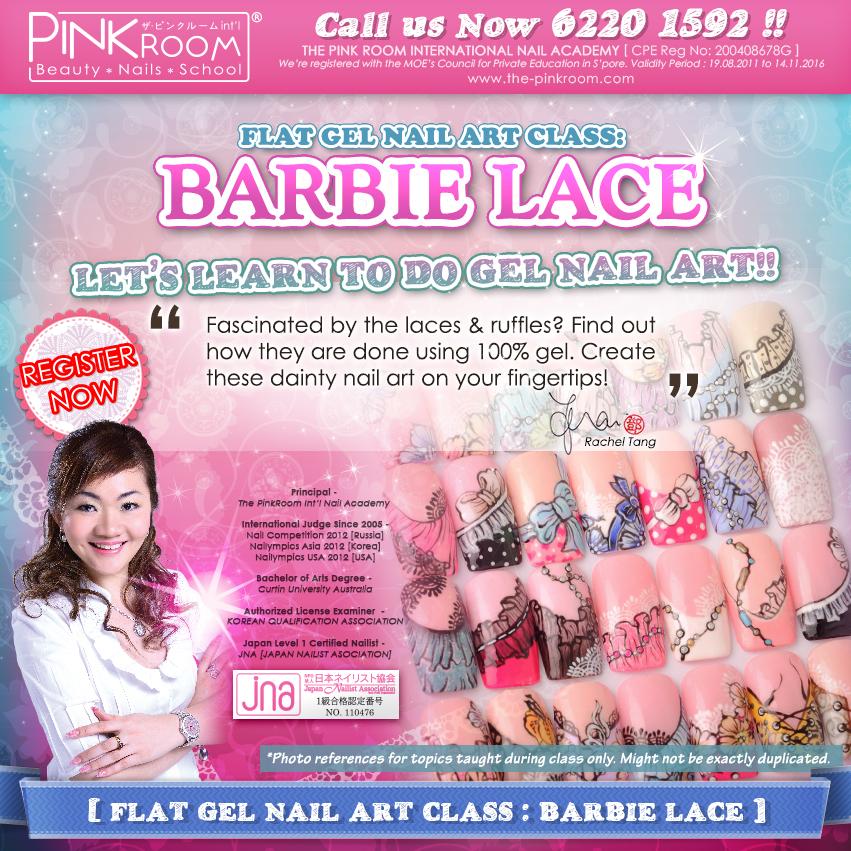 The Pink Room Int\'l Nail Academy: Flat Gel Nail Art Class: Barbie ...