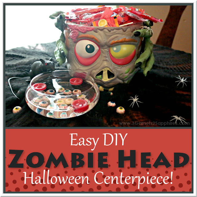 Easy DIY Zombie Head Halloween Centerpiece  |  www.3Garnets2Sapphires.com