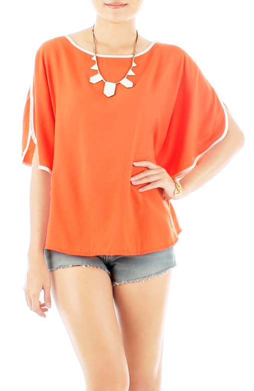 Oversized Pop Line Blouse - Orange