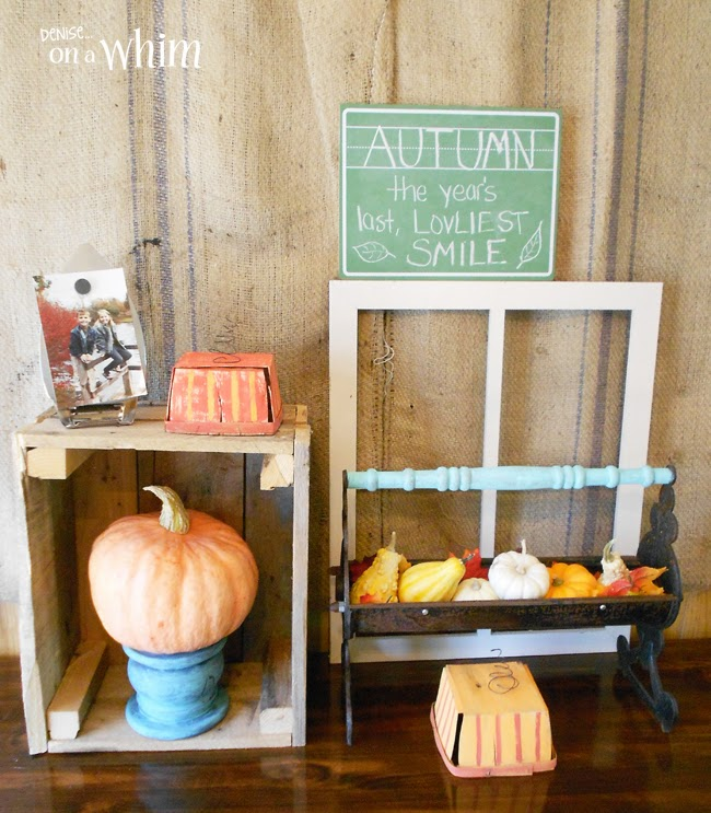 An antique Log Roller Upcycled in a fall Vignette from Denise on a Whim