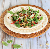 Arugula Salad with Wheat Berries, Pine Nuts and and Butter Beans