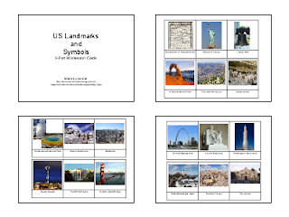 US Landmarks and Symbols 3-Part Cards (Image from The Homeschool Den)