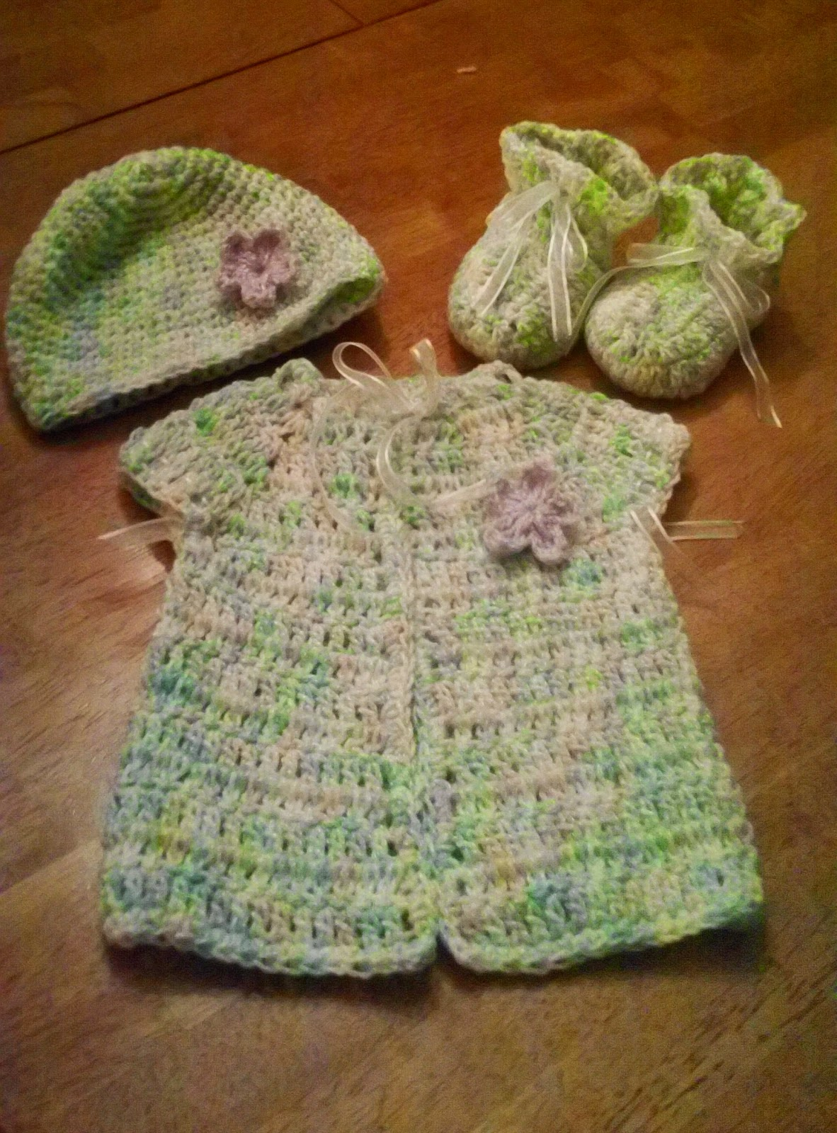 janie crochet designs: crocheted baby sweater,hat and ...