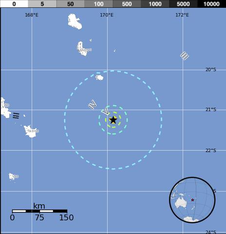 Epicentro sismo 6,3 grados isla Lealtad, Nueva Caledonia