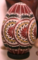 carved and painted wood-egg