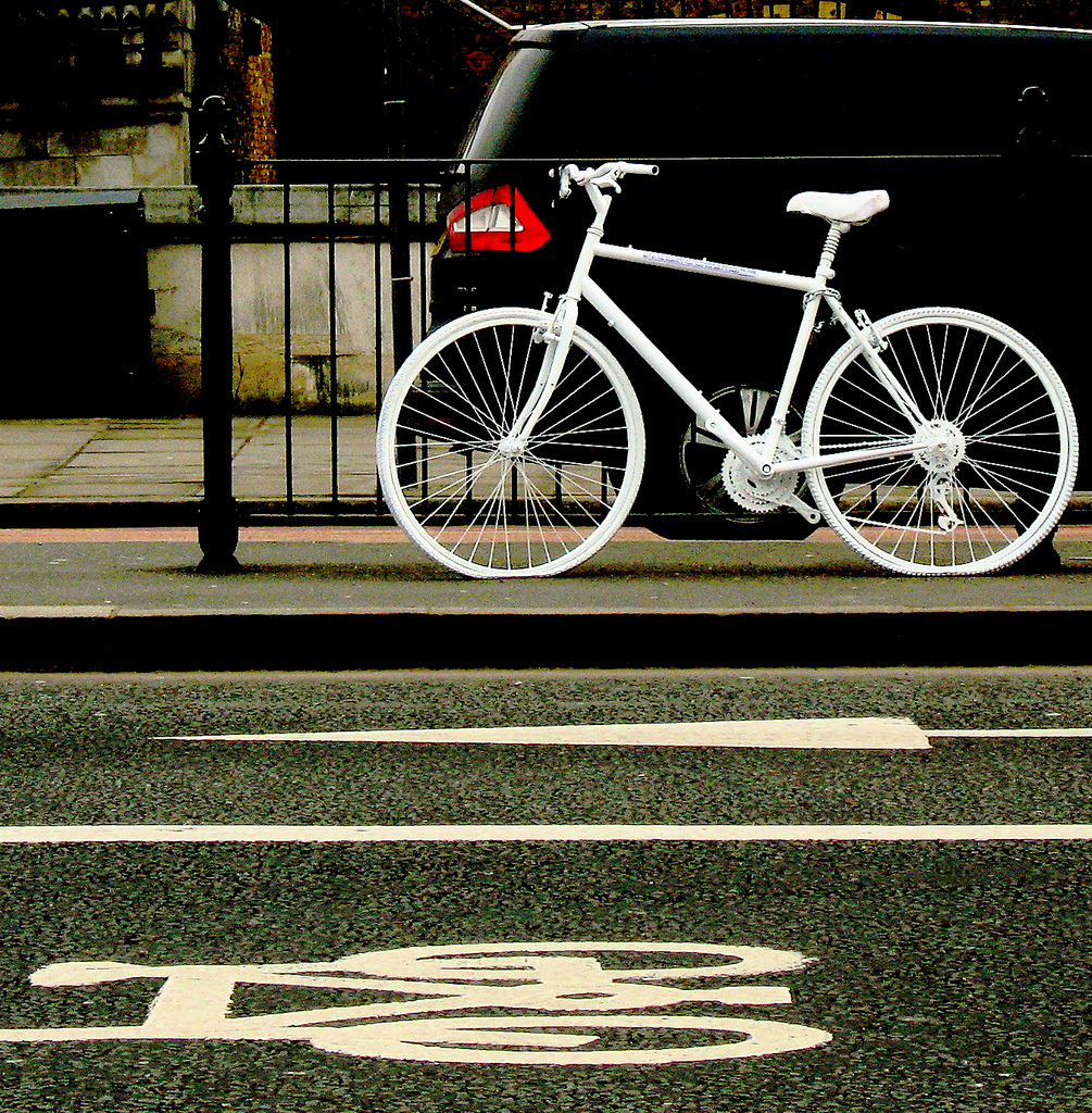 A ghost bike on Blackfriars Bridge, London in 2008 - marking the spot where a cyclist was killed in a traffic accident