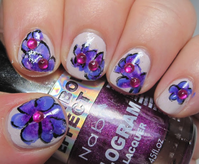 Flowers with Nabi Purple Hologram and Cover Girl Outlast Vio-last