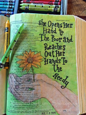 Proverbs 31:20 Bible Journal Page by Lynn Shokoples