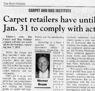 Werner Braun: Carpet Retailers: Beware of Wholesale Claims