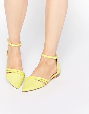 Asos yellow ankle strap flats
