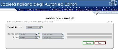 SIAE Archivio opere musicali con autori ed editori