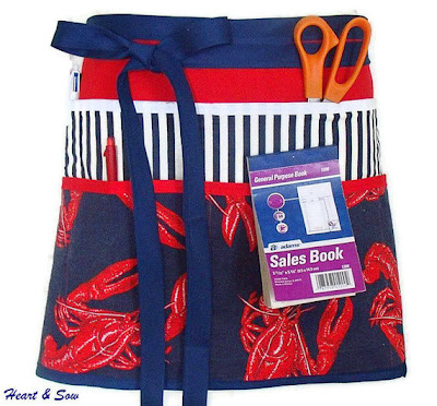 utility half apron with 9 pockets - lobster pattern