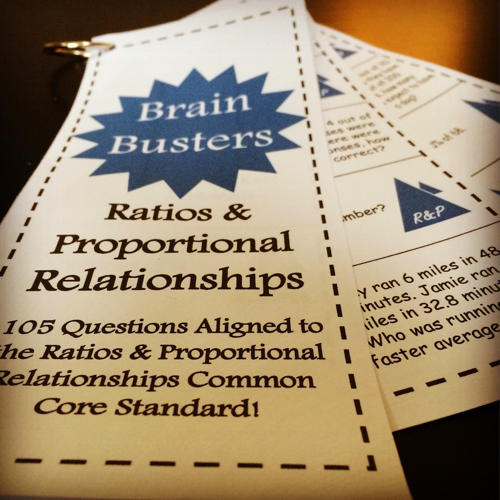 http://www.teacherspayteachers.com/Product/Math-Brain-Busters-Ratios-and-Proportional-Relationships-1641999