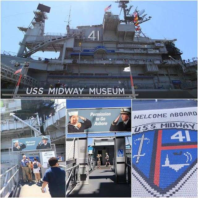 The entrance of the USS Midway Museum in San Diego, California, USA