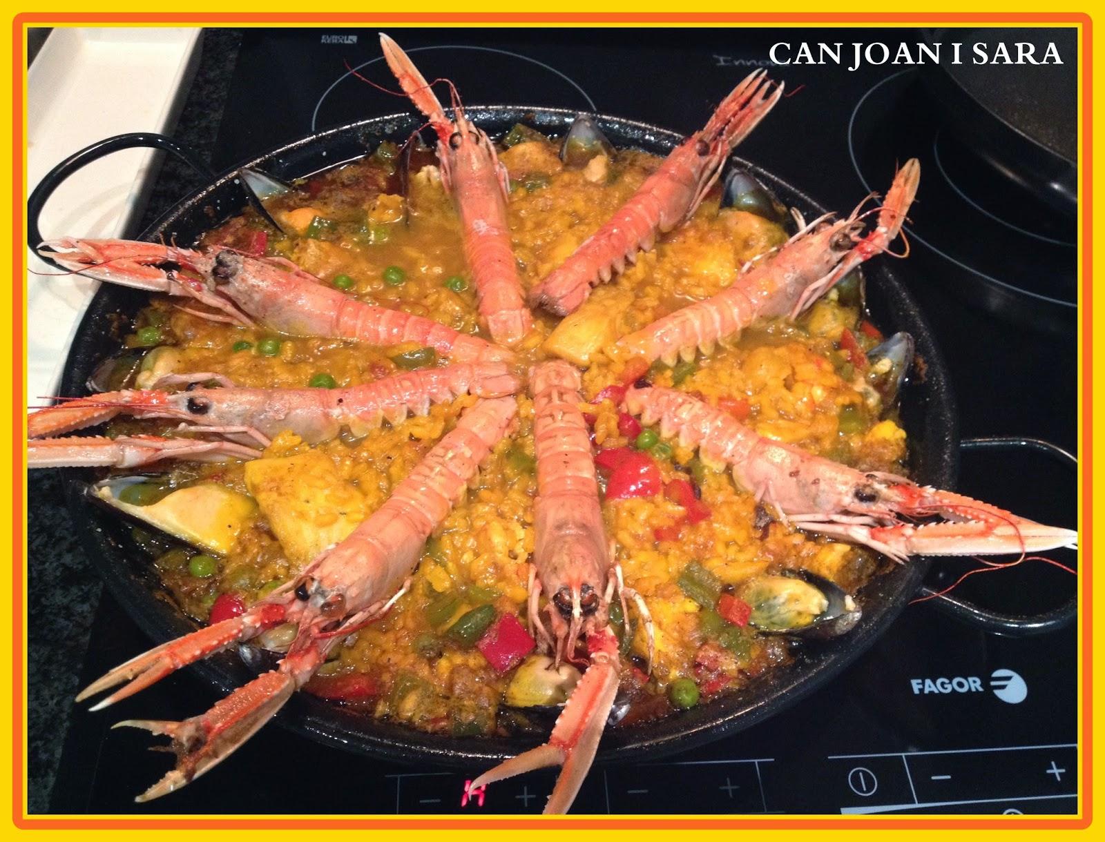 Paella con merluza y cigalas recetas de cocina - Cocina con sara paella ...