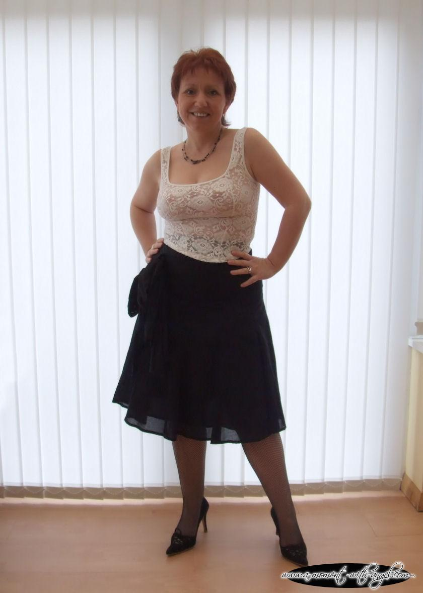 wife in skirt and pantyhose
