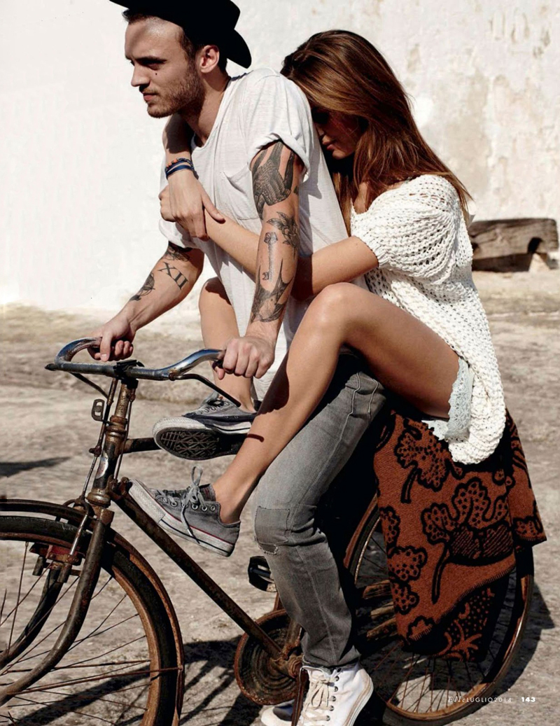 Josephine Skriver photographed by Dan Martensen for Elle Italia July 2014 / bicycles in Vogue, Harper's Bazaar, Marie Claire, Elle fashion editorials and campaigns / via fashioned by love british fashion blog