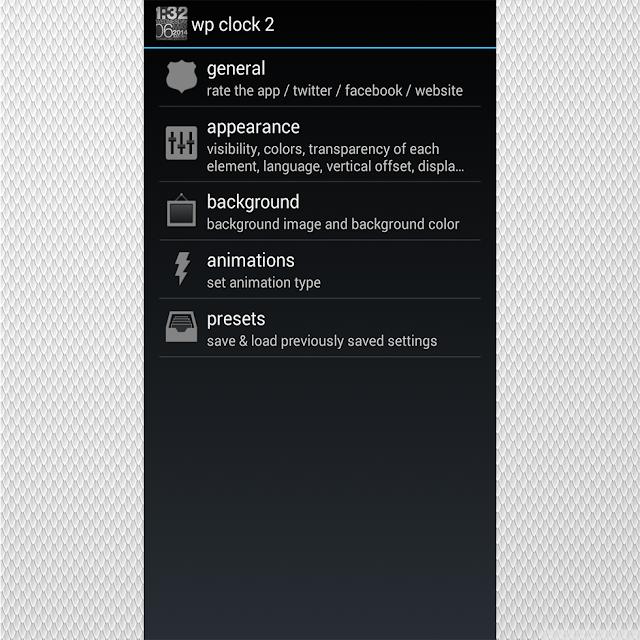 Menu do aplicativo com várias de opções de personalização