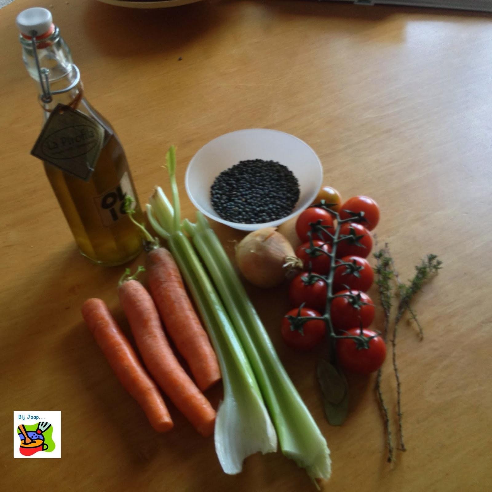 Irene kookt: bij jaap: linzen met gegrilde aubergines