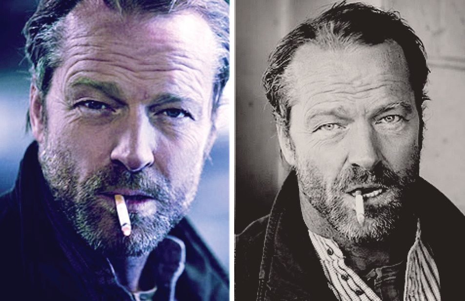 Iain Glen smoking a cigarette (or weed)