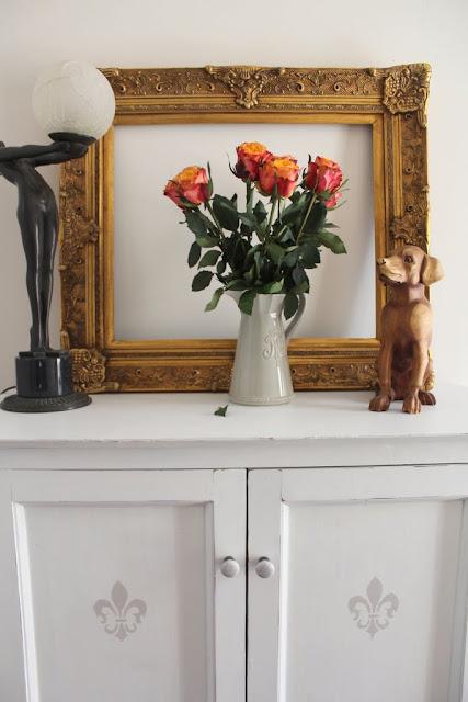 ornate gold frame french white cabinet