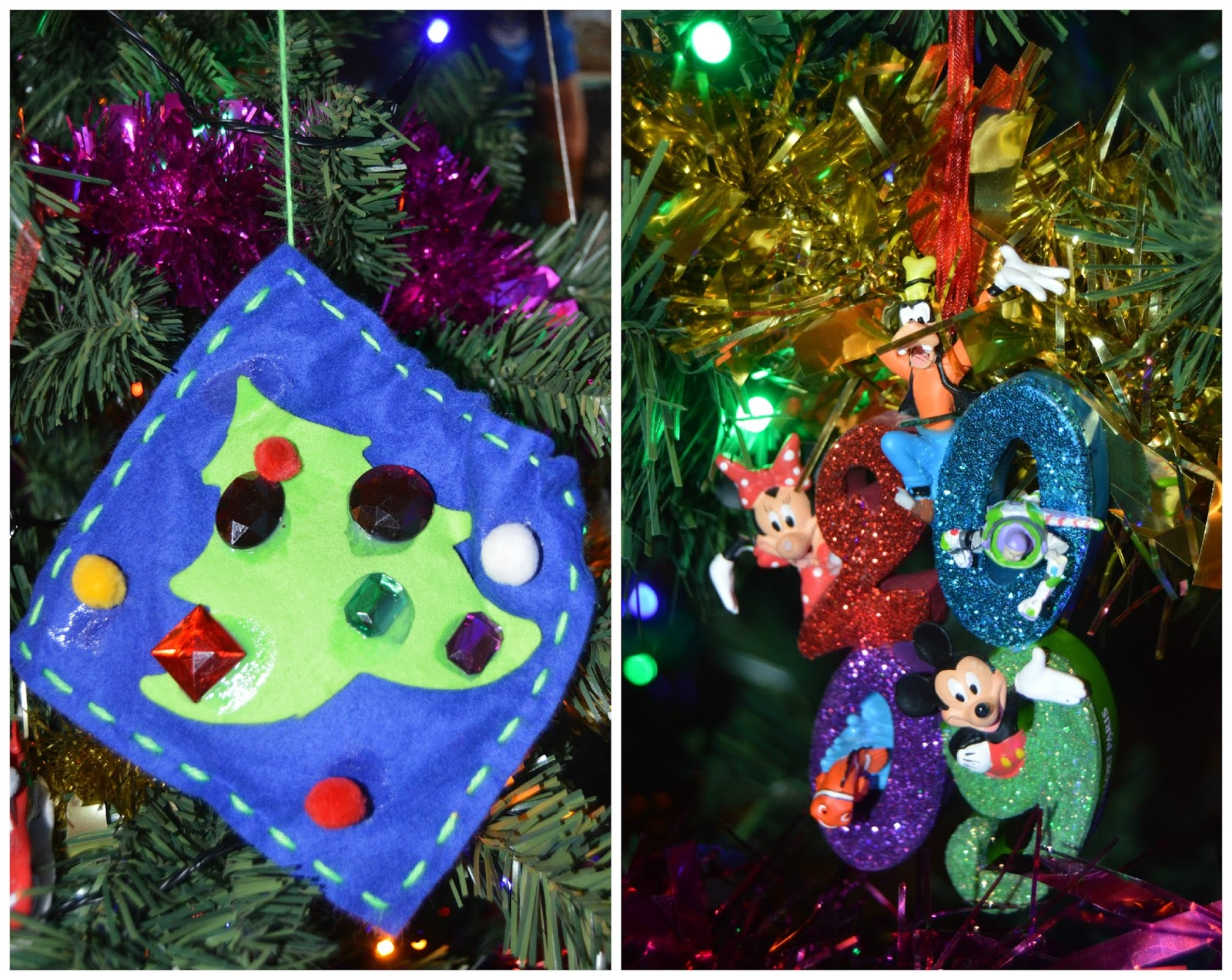mostly our tree is filled with disney decorations every year we go to disneyland paris just before christmas and we buy at least three new decorations