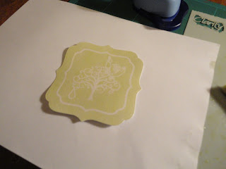 Partridge, pear and tree resist embossed topper