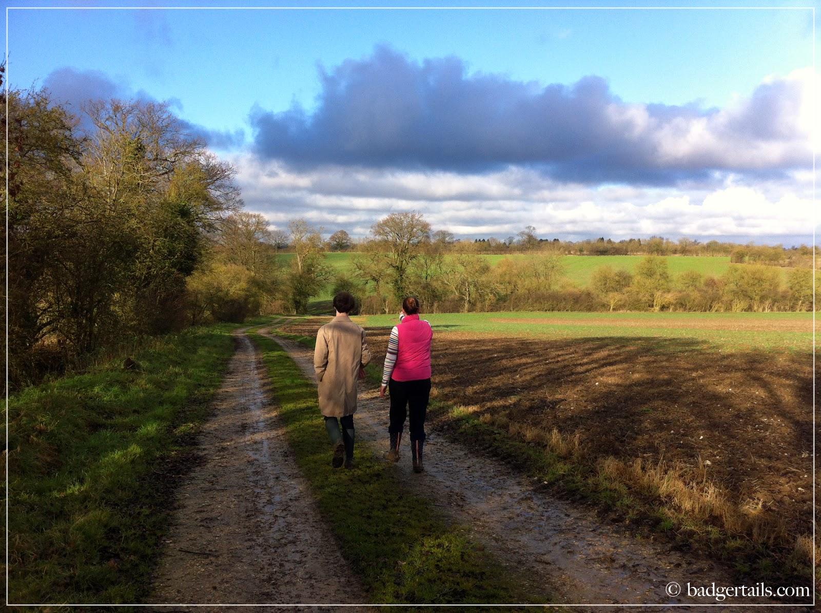 couple walking in english countryside