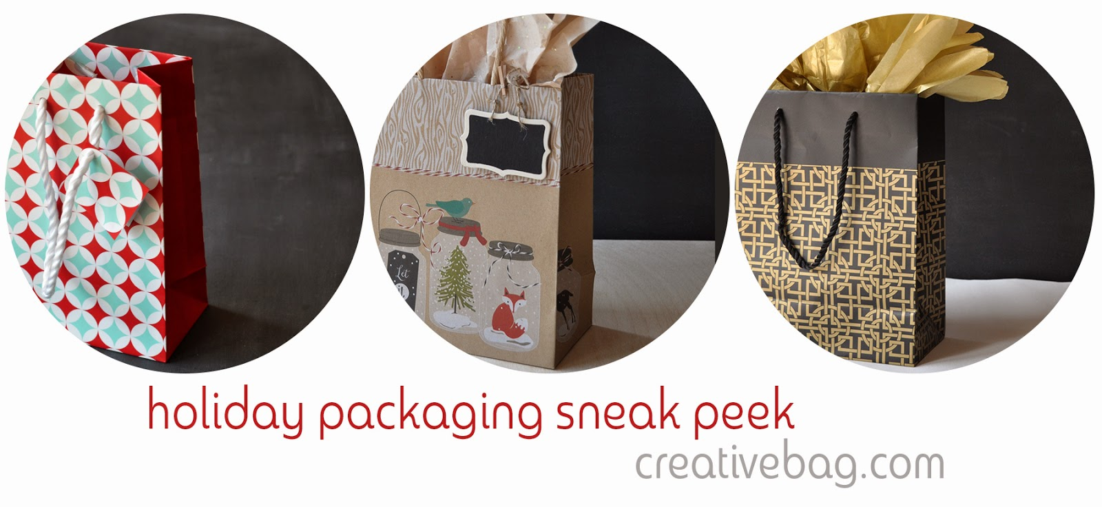 sneak peek of holiday packaging at creativebag.com