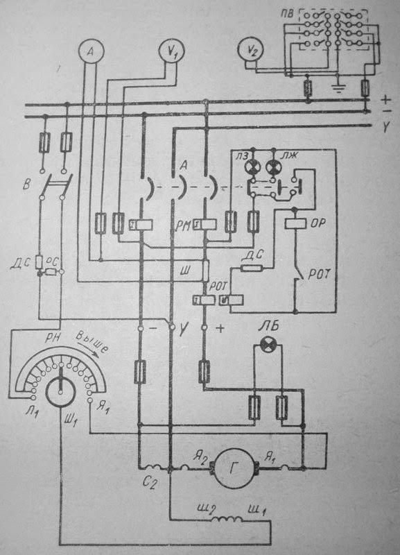 Принципиальная схема генераторной панели ГРЩ