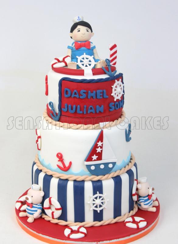 The Sensational Cakes Nice Teddy Nautical Theme Birthday Cake
