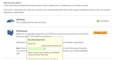 "Berapa sih limit Paypal unverified itu ""Limit Paypal belum terverfikasi"" ?"
