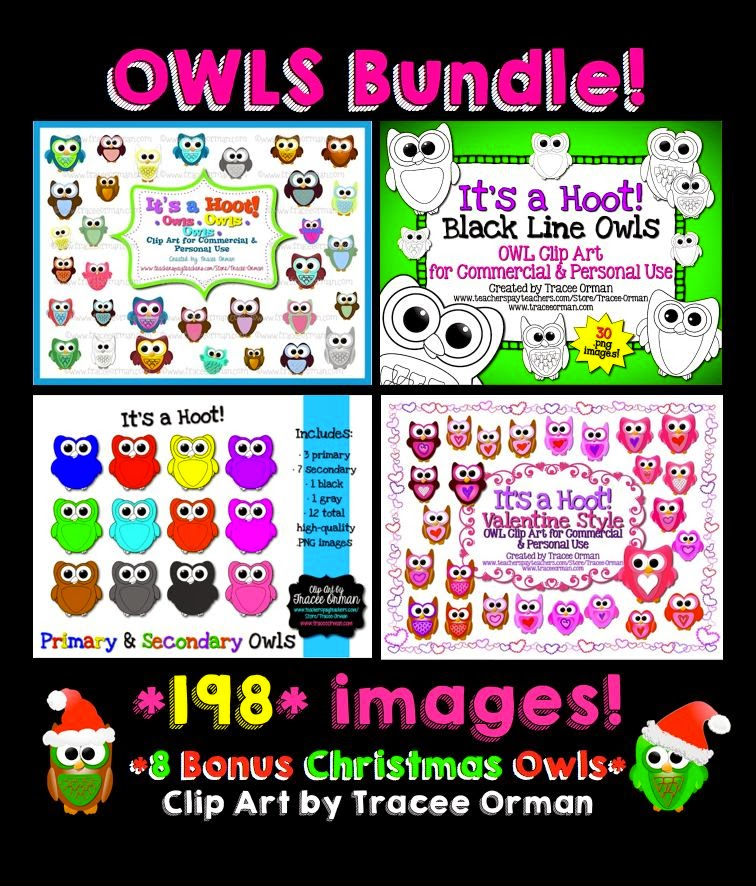 Owls - It's a Hoot! Owl clip art graphics bundle for commercial use