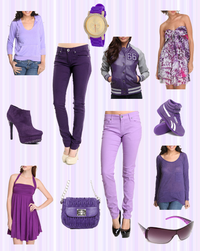 Purple jeans, dresses, tops, shoes and accessories