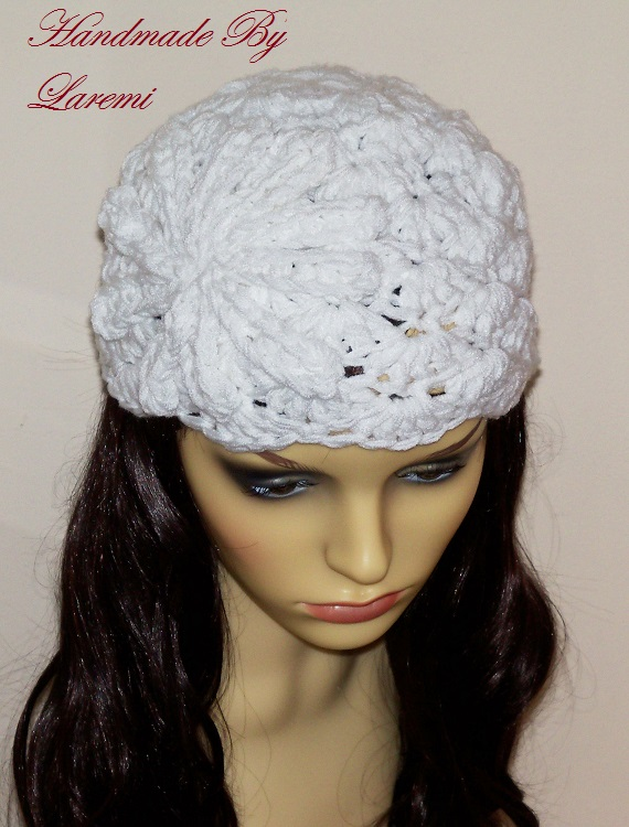 ... Laremi: White women chunky beanie hat adult size with crochet flower