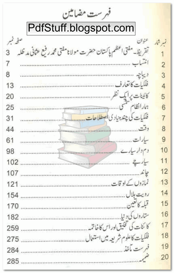 Contents of Urdu book Fehmul Falkiat