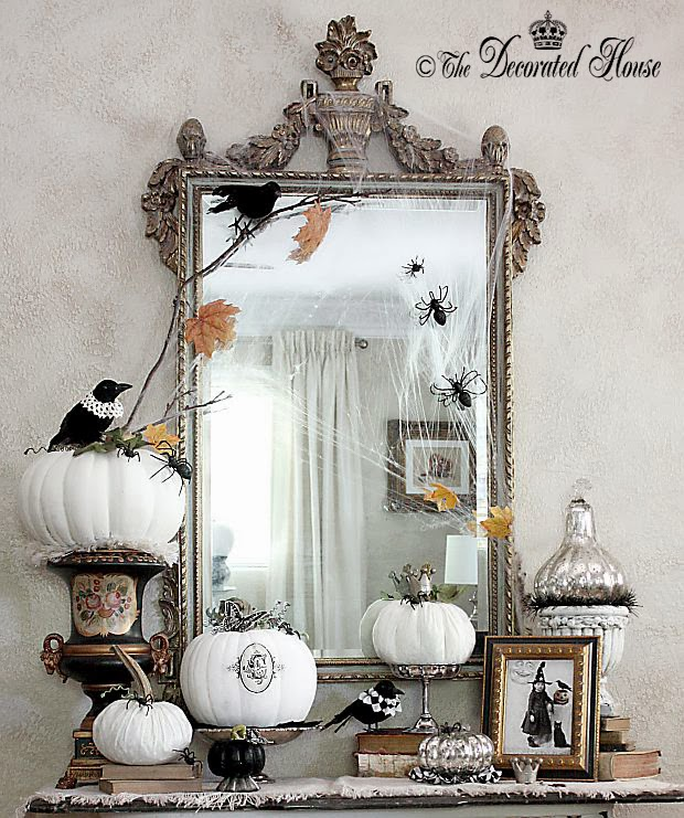 halloween decor vintage elegant black white with mercury glass entry table 2013 - Elegant Halloween Decor