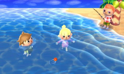 animal crossing 3ds swimming screenshot