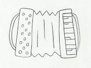 Desenho de Sanfona para Pintar. Desenho de instrumento musical, .