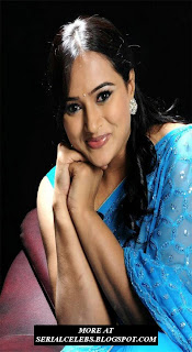Anupama Aunty in Blue Sraee