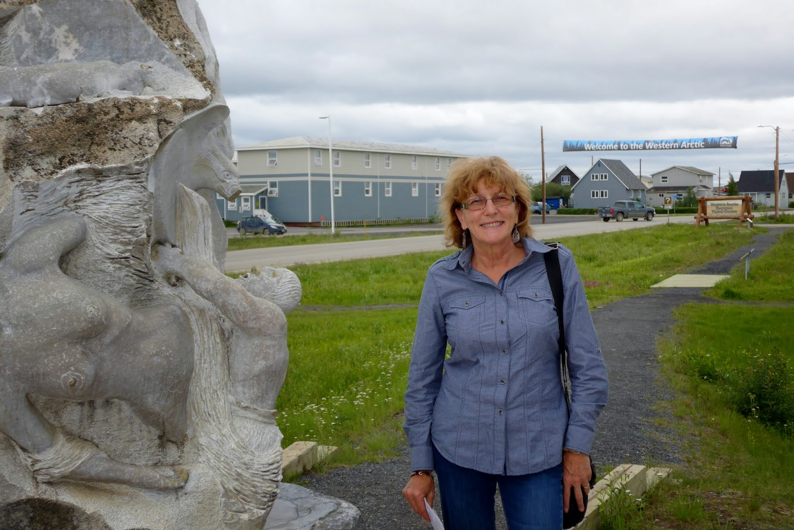 Liz outside info center in Inuvik.