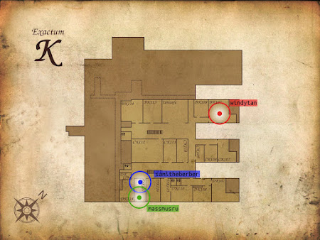 [Image: An indoor map of a building titled 'Exactum K', made to look like the stereotypical 'treasure map' on old paper. Several rooms are labeled. Three placemarks with different colors, drawn in an anachronistically modern style, are labeled with online screen names.]
