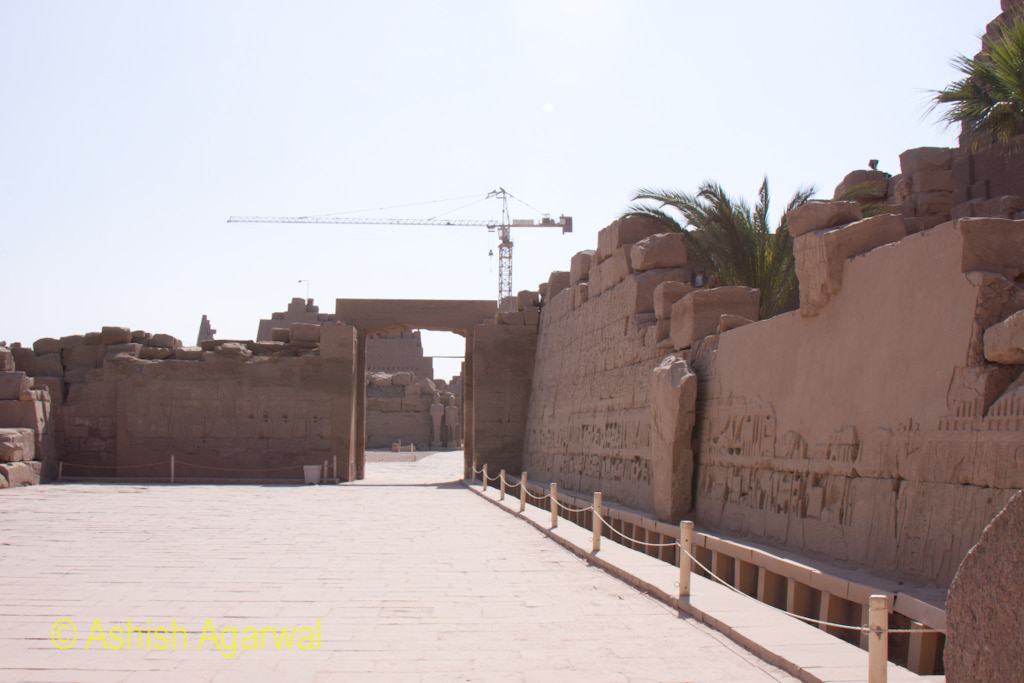 Construction Crane just behind the Karnak temple complex