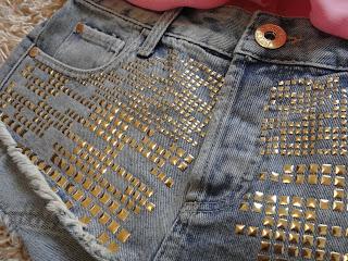 Denim Shorts, Gold Studded Shorts, Festival Shorts