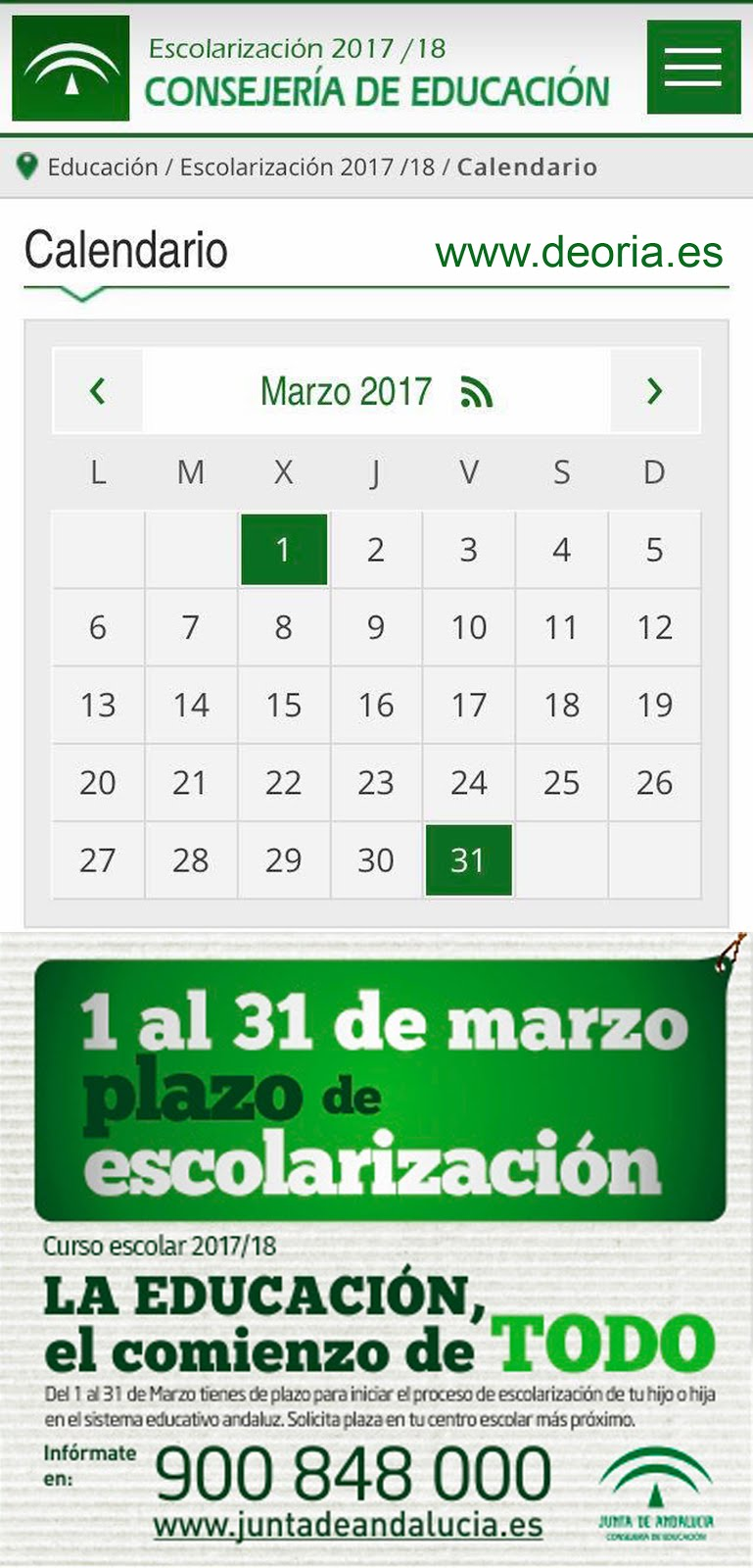 Calendario escolarización 2017/18