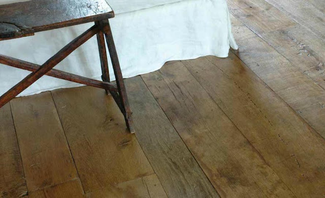 French Oak Antique Wood Floorboards via Chateau Domingue as seen on linenandlavender.net