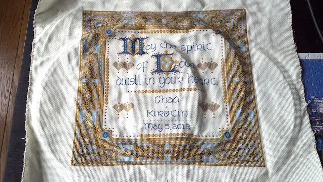 """""""Celtic Wedding Prayer"""" - lettering and backstitching finished, unframed"""